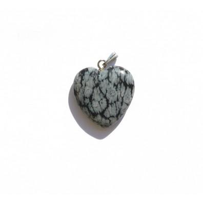 Přívěšek srdíčko - obláčkový obsidian