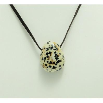 Drilled pendant - jasper dalmatin