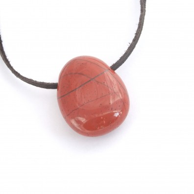 Drilled pendant - red jasper