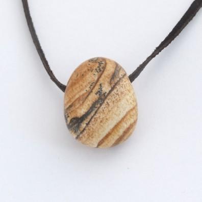 Drilled pendant - picture jasper