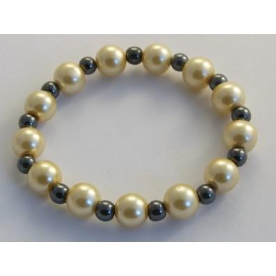 Náramek - hematit a skleněné perly